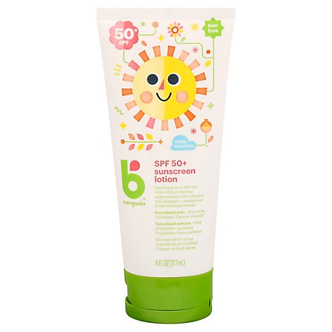 Babyganics Sunscreen Lotion Broad Spectrum SPF 50+ Mineral-Based Seed Oil Blend - 6 Fl. Oz.