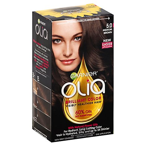 Garnier Olia Oil Powdered Permanent Hair Color Medium Brown 5.0 - Each