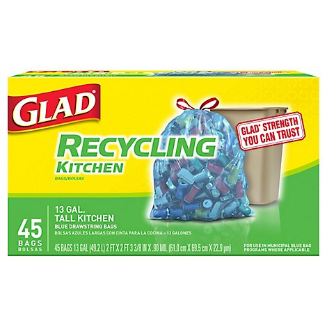 Glad Trash Bags Tall Kitchen Drawstring Recycling Tall Translucent Blue - 45 Count