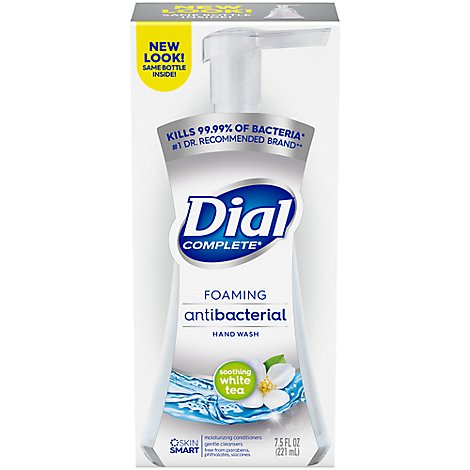 Dial Complete Hand Soap Foaming Antibacterial Soothing White Tea - 7.5 Fl. Oz.