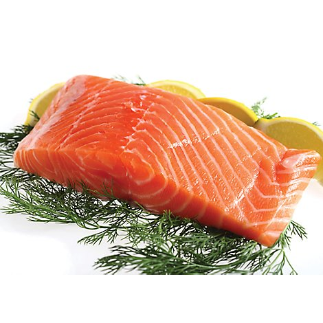 Seafood Service Counter Fish Salmon Atlantic Whole Fillet Color Added Fresh - 2.00 LB