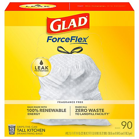 Glad Kitchen Bags Tall Drawstring Reinforcing Bands - 90 Count