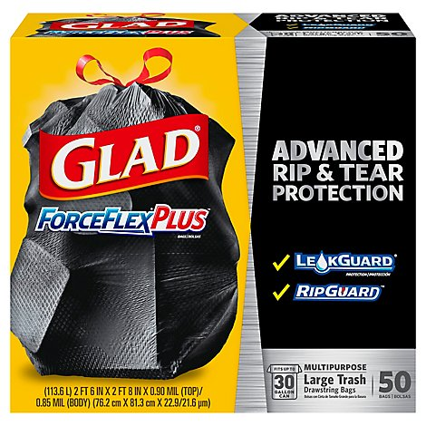 Glad Trash Bags Forceflex Drawstring Black 30 Gallon - 50 Count