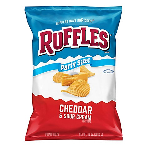 Ruffles Potato Chips Cheddar & Sour Cream Party Size - 13 Oz