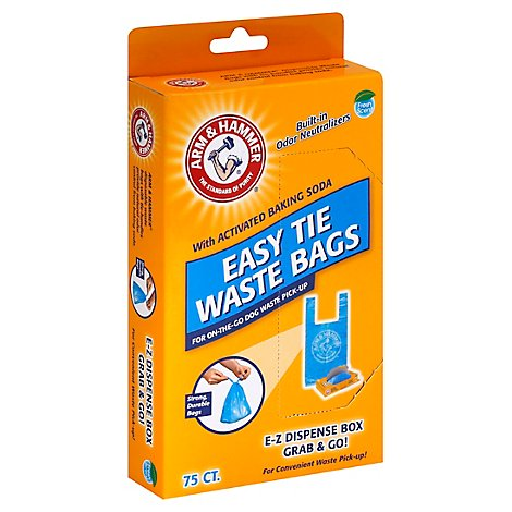 ARM & HAMMER Waste Bag Easy Tie With Grab & Go Dispense Box Fresh Scent Box - 75 Count