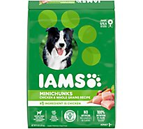 IAMS Dog Food Minichuks For Adult Dry Chicken & Whole Grains Recipe - 15 Lb