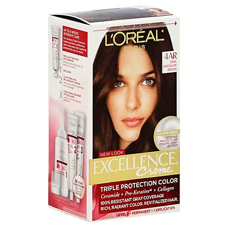 LOreal Excel Creme Dark Chocolate Brown 4ar Hair Color - Each