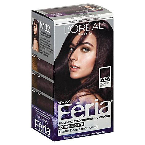 LOreal Feria Haircolor Permanent Violet Soft Black M32 - Each