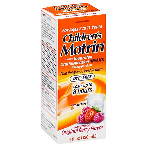 Motrin Childrens Ibuprofen Suspension Berry Flavor Dye Free - 4 Fl. Oz.