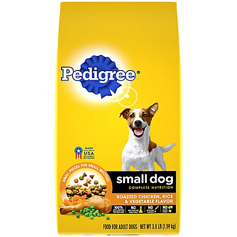 PEDIGREE Dog Food Dry For Small Dog Nutrition Roated Chicken Rice & Vegetable Bag - 3.5 Lb