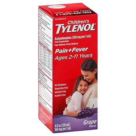 Tylenol Childrens Acetaminophen Suspension Grape Splash - 4 Fl. Oz.