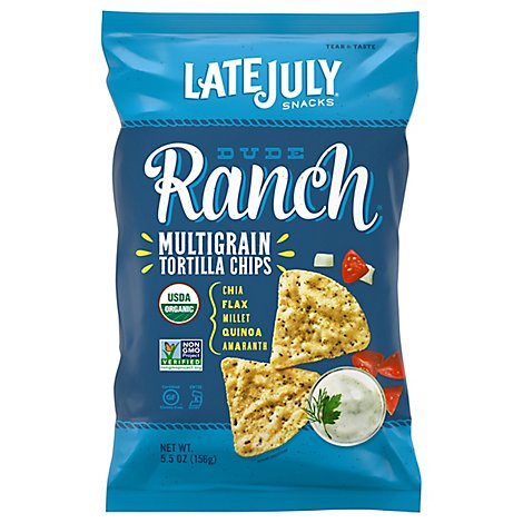 Late July Snacks Tortilla Chips Organic Multigrain Dude Ranch - 5.5 Oz
