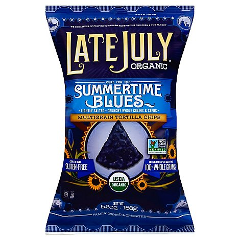 Late July Snacks Tortilla Chips Organic Multigrain Cure for the Summertime Blues - 5.5 Oz