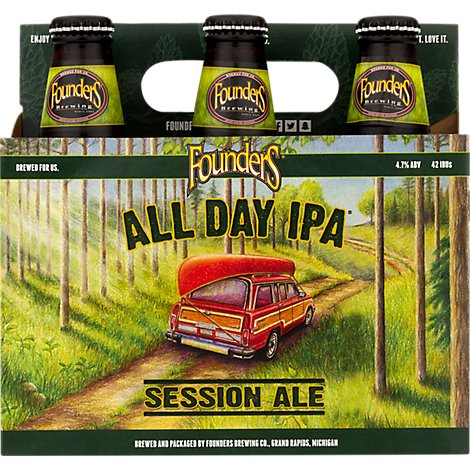 Founders Brewing Co. Year-Round Beer All Day IPA Bottles - 6-12 Fl. Oz.