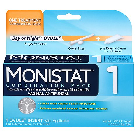 Monistat Vaginal Antifungal 1-Day Treatment Ovule Cure Itch Relief Maximum Strength - 0.32 Oz