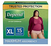 Depend Underwear For Women Maximum Absorbency Extra Large - 15 Count