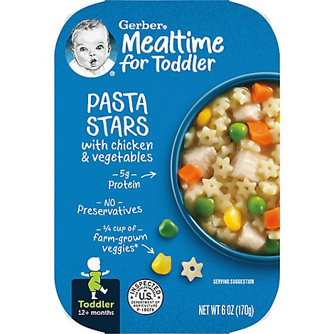 Gerber Baby Food Toddler Pasta Stars With Chicken & Vegetables - 6 Oz