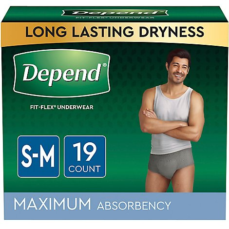 Depend Fit-Flex Underwear for Men Maximum Absorbency Small Medium - 19 Count