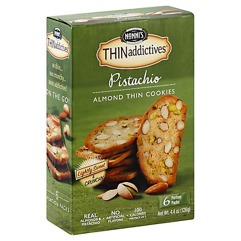 Nonnis THINaddictives Cookies Almond Thin Pistachio 6 Count - 4.4 Oz