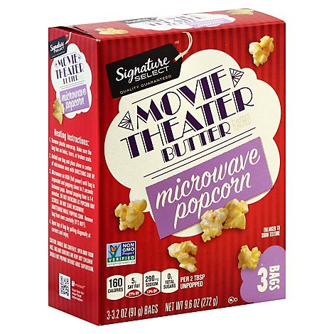 Signature Select Microwave Popcorn Movie Theater Butter 3 3 2 Oz Carrs