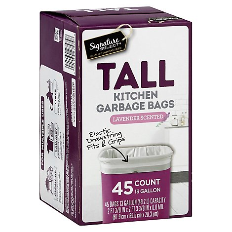 Signature SELECT/Home Garbage Bags Drawstring Scented Tall Kitchen Lavender 13 Gallon - 45 Count