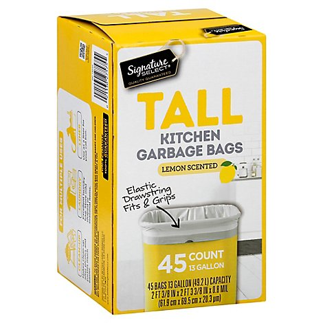 Signature SELECT/Home Garbage Bags Drawstring Scented Tall Kitchen Lemon 13 Gallon - 45 Count