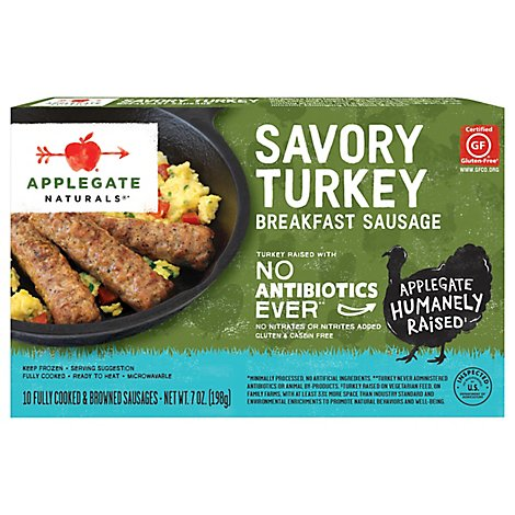 Applegate Natural Savory Turkey Breakfast Sausage Frozen - 7oz
