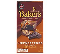 Bakers Baking Chocolate Bar Unsweetened 100% Cacao - 4 Oz