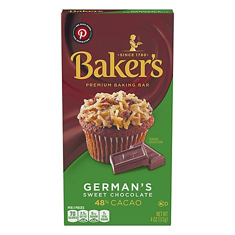 Bakers Chocolate Baking Bar Sweet Germans 48% Cacao - 4 Oz