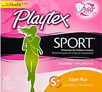 Playtex Sport Tampons Plastic Unscented Super Plus Absorbency - 36 Count