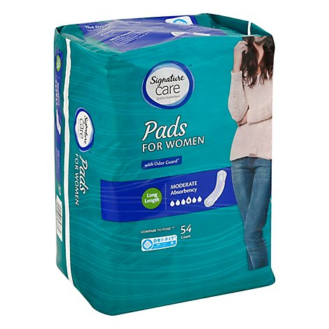 Signature Care Pads For Women Moderate Absorbency Long Length - 54 Count