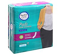 Signature Care Pads For Women Maximum Absorbency Long Length - 39 Count