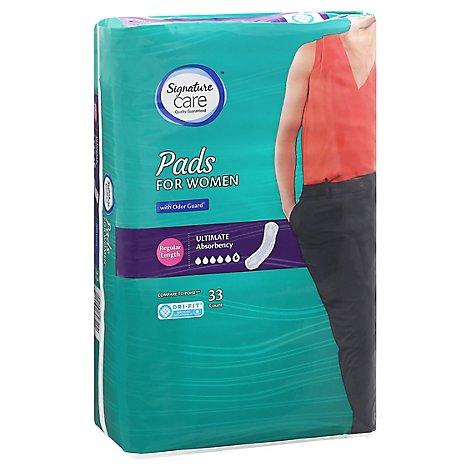 Signature Care Pads For Women Ultimate Absorbency Regular Length - 33 Count