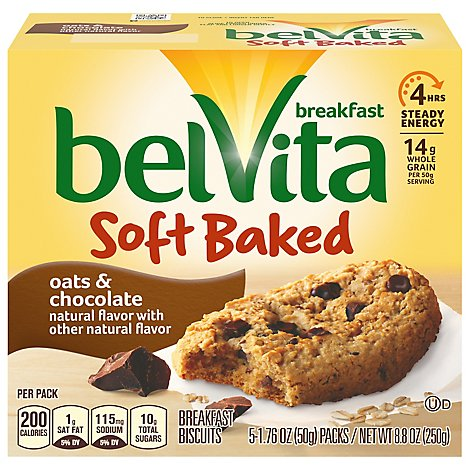 belVita Breakfast Biscuits Soft Baked Oats & Chocolate - 5-1.76 Oz