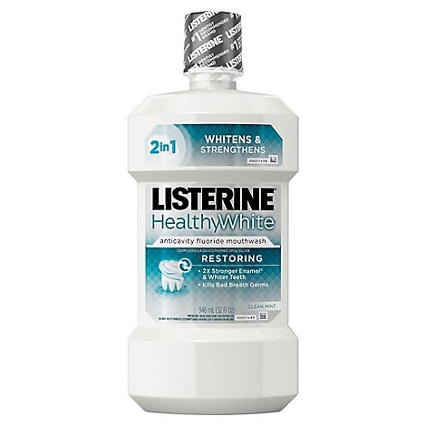 LISTERINE Healthy White Mouthrinse Anticavity Clean Mint - 32 Fl. Oz.