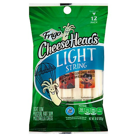 Frigo Cheese Heads Mozzarella String Cheese Light 12 Pack - 10 Oz