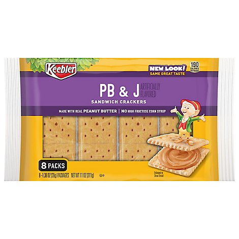 Keebler Sandwich Crackers PB and J 8 Count - 11 Oz