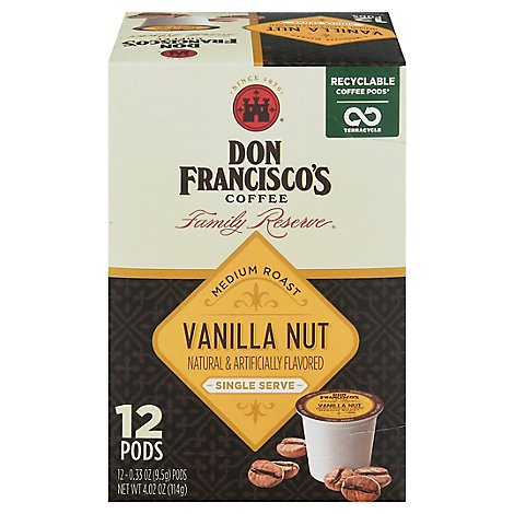 Don Franciscos Coffee Family Reserve Coffee Single Serve Medium Roast Vanilla Nut - 12-0.33 Oz