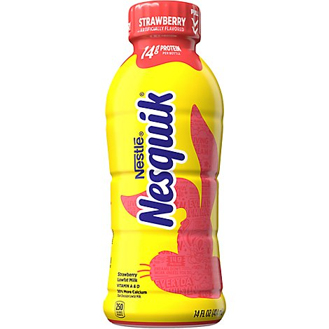 Nesquik Milk Lowfat Strawberry - 14 Fl. Oz.