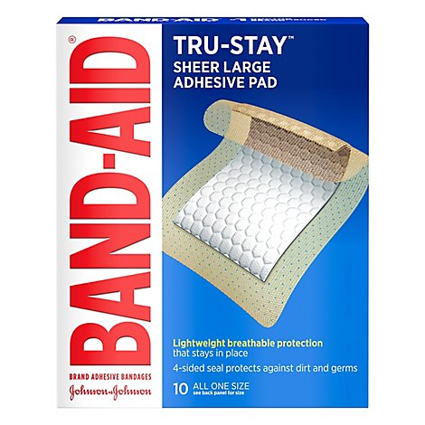 Johnson & Johnson Band Aid Adhesive Pads Large - 10 Count