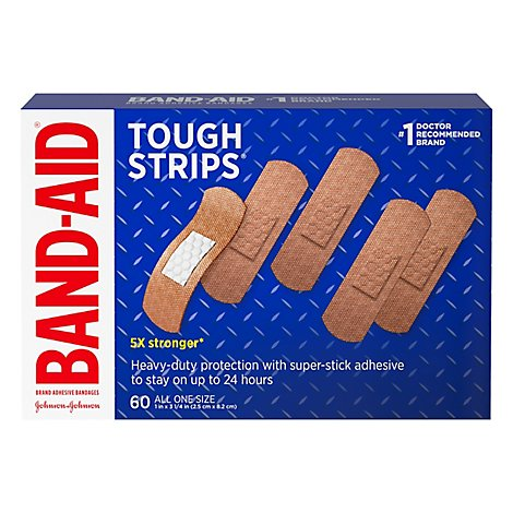 BAND-AID Brand Adhesive Bandages Tough Strips All One Size - 60 Count