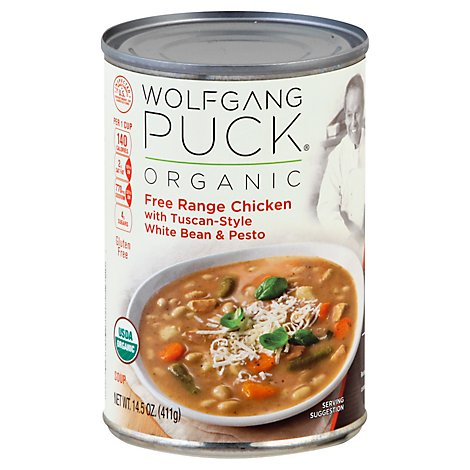 Wolfgang Puck Soup Organic Free Range Chicken with Tuscan-Style White Bean & Pesto - 14.5 Oz