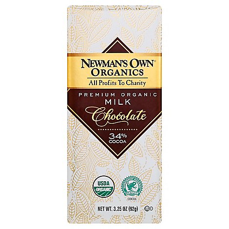 Newmans Own Organics Milk Chocolate Premium Organic 34% Cocoa - 3.25 Oz
