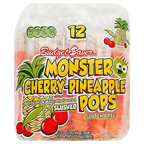 Budget Saver Cherry Pineapple Monster Pops - 12 Count
