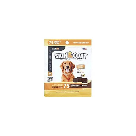 VetIQ Dog Treats Skin Coat Maximum Strength Soft Chews Chicken Flavored Pouch - 75 Count