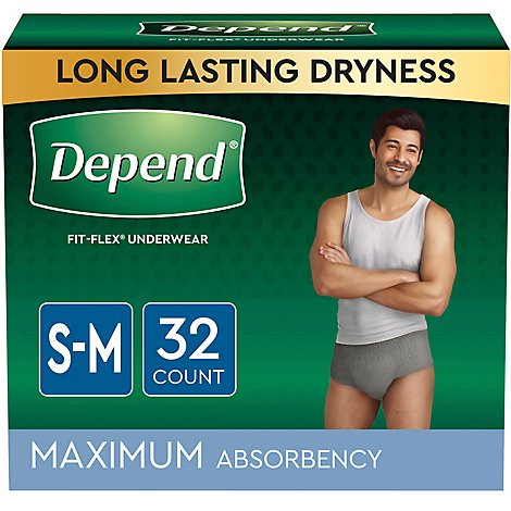 Depend Fit-Flex Underwear for Men Maximum Absorbency Small-Medium - 34 Count