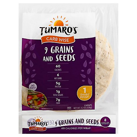 Tumaros Nine Grain Chia Wraps Sandwich - 8 Count