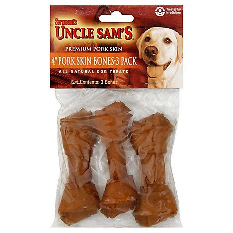 Sergeants Canine Prime Dog Treats Pork Skin Bones 4 Inch Pouch - 3 Count