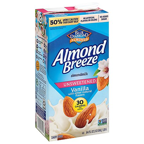 Blue Diamond Almond Breeze Almondmilk Unsweetened Vanilla 40 Calories - 64 Fl. Oz.