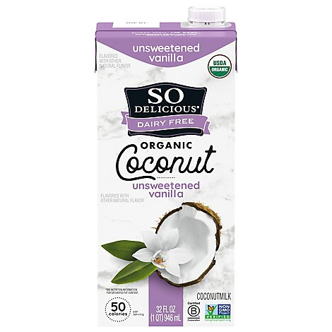 So Delicious Dairy Free Coconut Milk Organic Unsweetened Vanilla - 32 Fl. Oz.